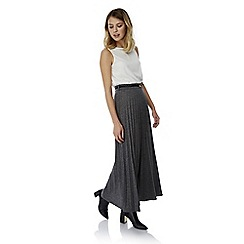 Yumi - Grey long pleated maxi skirt