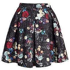 Yumi - Black Metallic Floral Printed Skater Skirt