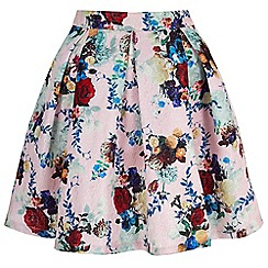 Yumi - Pink Metallic Floral Printed Skater Skirt