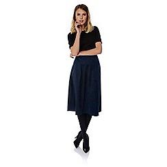 Yumi - Blue faux suede midi skirt
