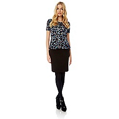 Yumi - Black zig zag print pencil skirt