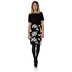 Yumi - Black floral flock pencil skirt
