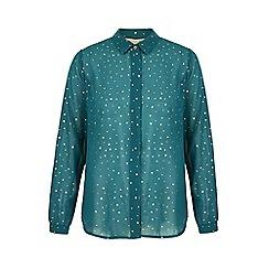 Yumi - Green gold spot print chiffon shirt