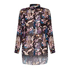 Yumi - Black owl and flower print oversized shirt