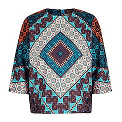 Yumi - Multicoloured owl floral print batwing top