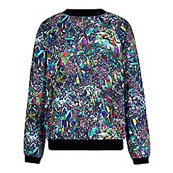 Yumi - Multicoloured Crystal Print Crepe Sweatshirt
