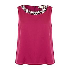 Yumi - Pink embellished neck swing top