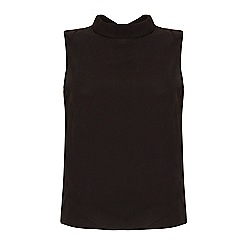 Yumi - Black back to front button up sleeveless shirt