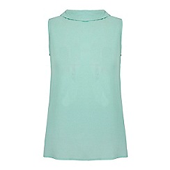 Yumi - Green back to front button up sleeveless shirt