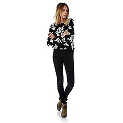 Yumi - Black floral flock sweatshirt