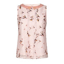 Yumi - Bird print lace shell top.