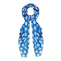 Yumi - Blue Daisy Print Scarf