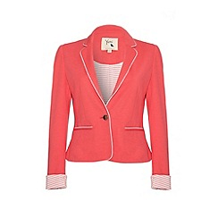 Yumi - Ponte blazer with white piping trim