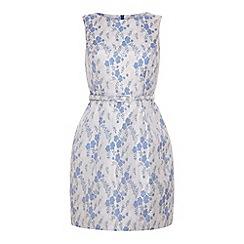 Yumi - Shiny jacquard floral shift dress