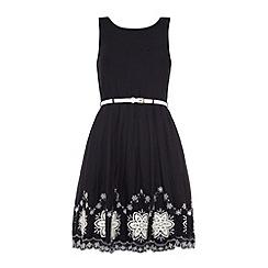 Yumi - Scalloped hem embroidery skater dress