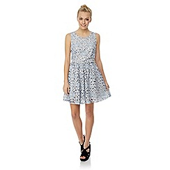 Yumi - Large scale lace skater dress with belt