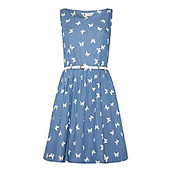 Yumi - Chambray butterfly print dress