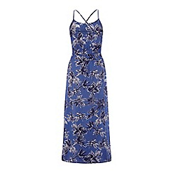 Yumi - Blue palm print maxi dress