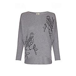 Yumi - Grey bird print oversized sweatshirt