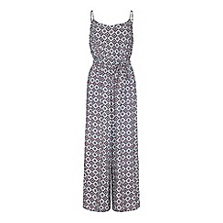 Yumi - Blue tile print belt jumpsuit