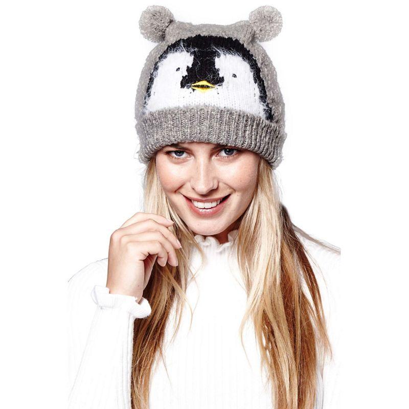 Yumi - Grey Penguin Bobble Hat