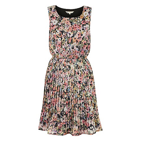 Yumi - Black Pansy print dress