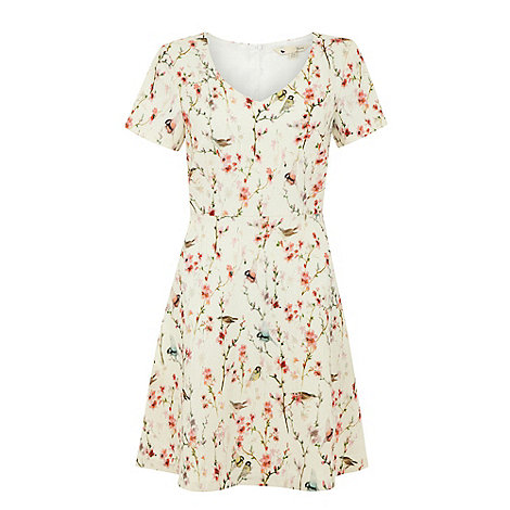 Yumi - Cream Oriental bird print dress