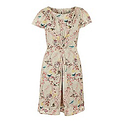 Yumi - Draped eastern bird print dress