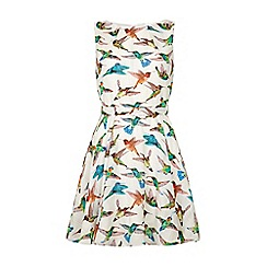 Yumi - White Hummingbird Print Day Dress