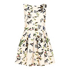 Yumi - Cream Butterfly Print Day Dress