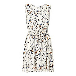 Yumi - White Bird on a Branch Print Day Dress