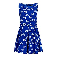 Yumi - Blue Butterfly Print Day Dress