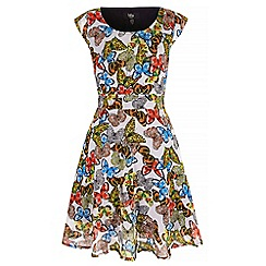 Yumi - Multicoloured  Mixed Butterfly Print Skater Dress