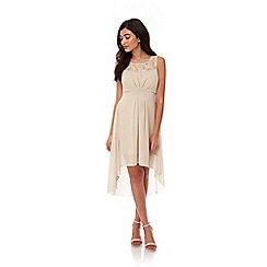 Yumi - Cream Lace Neckline High Low Dress