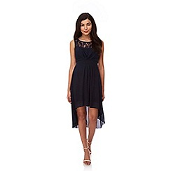 Yumi - Blue Lace Neckline High Low Dress