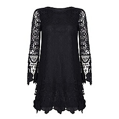 Yumi - Black Bell Sleeve Floral Lace Dress