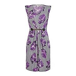 Yumi - Purple Flower Print Belted Dress