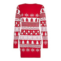 Yumi - Red Festive Knitted Jumper Dress