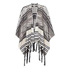 Yumi - Brown Stripe Tasseled Cape