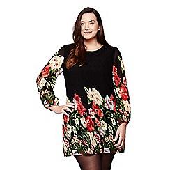Yumi Curves - black Bold Floral Tunic Dress