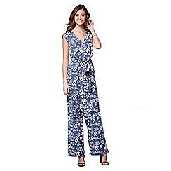 Yumi - Blue floral print jumpsuit
