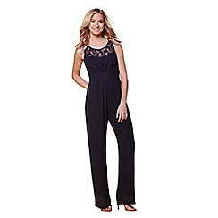 Yumi - Navy lace panel jumpsuit