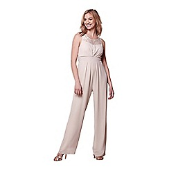 Yumi - Beige lace panel jumpsuit