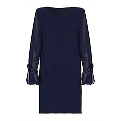Yumi - Navy flute sleeve shift dress