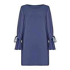 Yumi - Blue flute sleeve shift dress