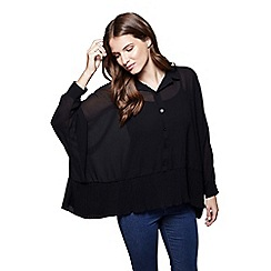 Yumi - Black sheer batwing blouse