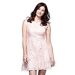 Yumi - Pink embrossed skater dress