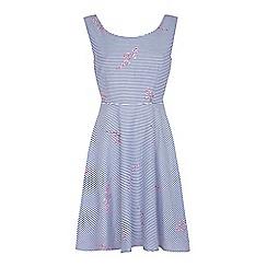 Yumi - Multicoloured floral stripe dress