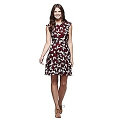 Yumi - Wine butterfly print skater dress