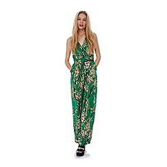 Yumi - Green Green Oriental Floral Print Jumpsuit